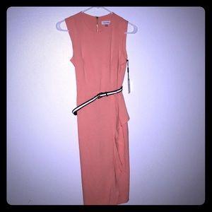 Calvin Klein Orange ruffle belt dress